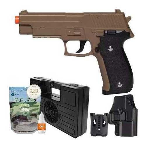 Pistola Airsoft Spring G26 Sig Sauer P226 Desert Tan Full Metal + Kit Completo