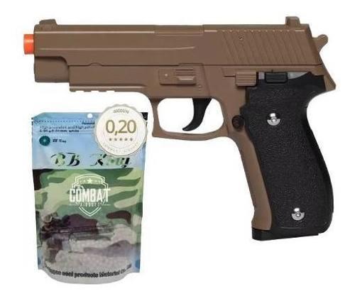 Pistola Airsoft Spring G26 Sig Sauer P226 Desert Tan Full Metal + 4000 Bbs