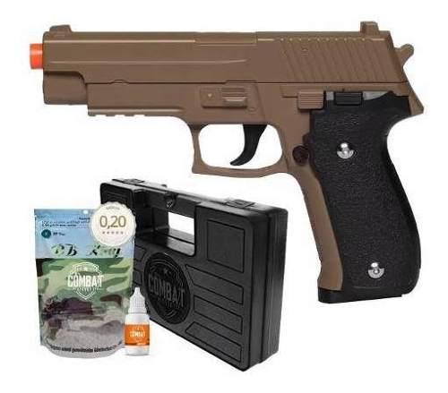 Pistola Airsoft Spring G26 Sig Sauer P226 Desert Tan Full Metal + Acessórios