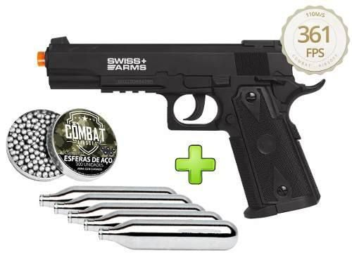 Kit Pistola Pressão Co2 Esferas Aço Swiss Arms P1911 Match