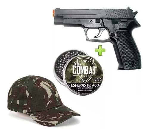 Kit Pistola Pressão Sig Sauer P226 4,5mm Metal + 300esfer + Bone