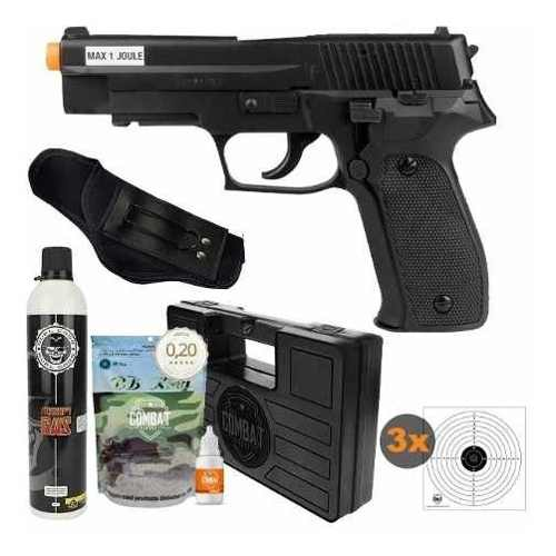 Airsoft Green Gás Pistola P226 6mm Saigo + Kit Completo