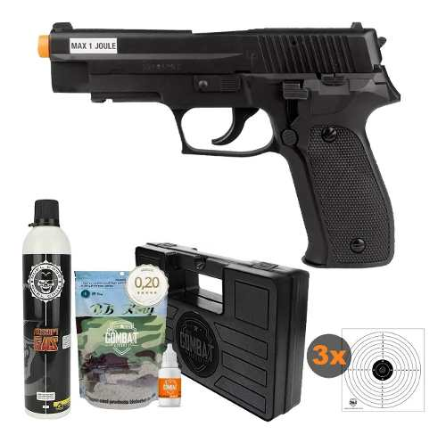 Kit Airsoft Green Gás Pistola P226 6mm Saigo + Acessórios