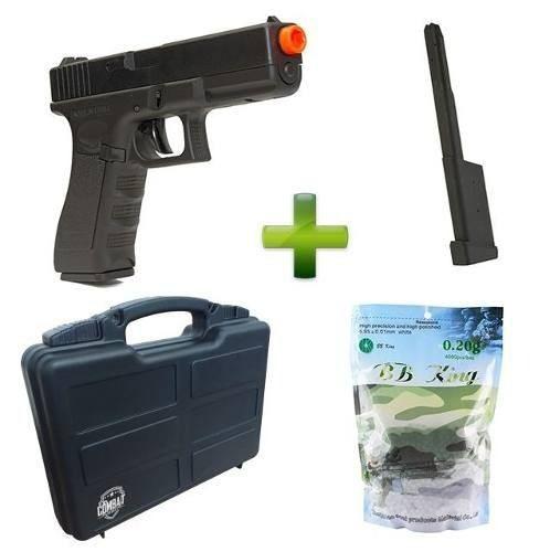 Kit Pistola Airsoft Cm030 + Case + Magazine Estendido + 4000 Bbs