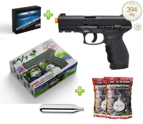 Kit Pistola Airsoft Co2 Kwc 24/7  Polímero + 10000 Bbs Ntk