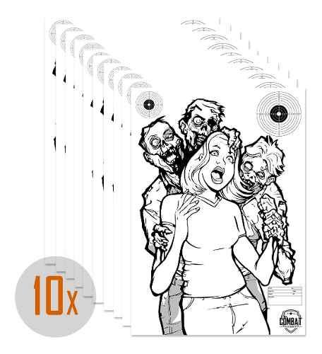 Pack 10 Alvos Silhueta Tiro Papel 42x59 Tema Zombie 3