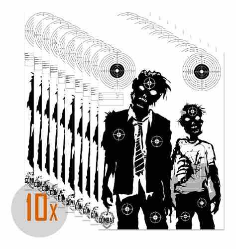 Pack 10 Alvos Silhueta Tiro Papel 42x59 Tema Zombie 2