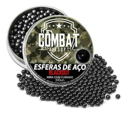 Esferas De Aço Combat Airsoft Blackout 4,5mm 300 Unidades