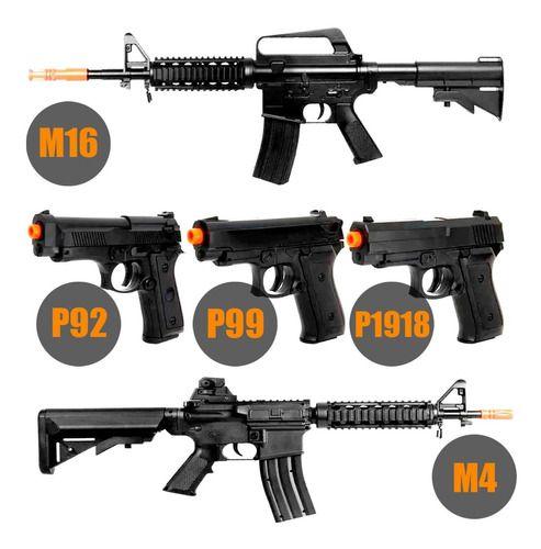 Super Combo De Airsoft Rossi Vigor Rifles + Pistolas Spring