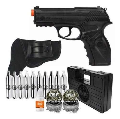 Pistola de Pressão Wingun C11 Rossi 4,5mm CO2 428 FPS + Maleta + Coldre + CO2 + Esferas