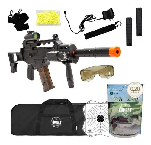 Rifle De Airsoft Elétrico Aeg G36 Cm021 + Capa + Bbs + Alvos