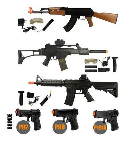 Rifles Airsoft AEG Cyma AK47 CM022 + G36 CM021 + M4 CM176 + Pistolas Spring