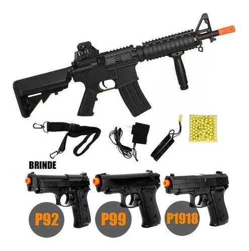 Airsoft Rifle Metralhadora Fuzil Aeg Cqb M4 Cm176 + Pistolas