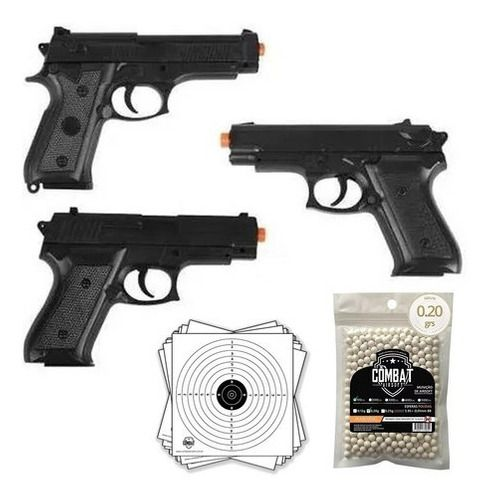 3 Pistolas Airsoft Spring Vigor P99 + P1918 + P92 + BBs + Alvos