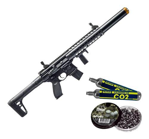 Rifle Pressão Co2 Sig Sauer Mcx 4,5 Fullmetal + 2 Co2 + Chumbo