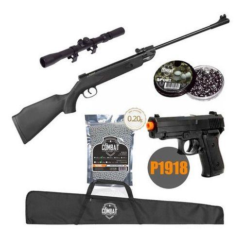 Carabina De Pressão Qgk14 Black Edition 5,5mm + Munição + Acessórios