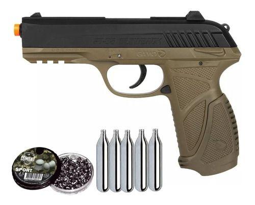 Pistola De Pressão Gamo PT-85 CO2 Blowback 4.5mm + Chumbo + CO2