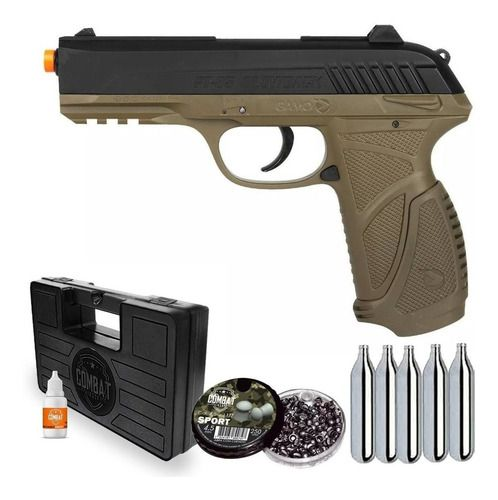 Pistola De Pressão Gamo PT-85 CO2 Blowback 4.5mm + Chumbo + CO2+ Case