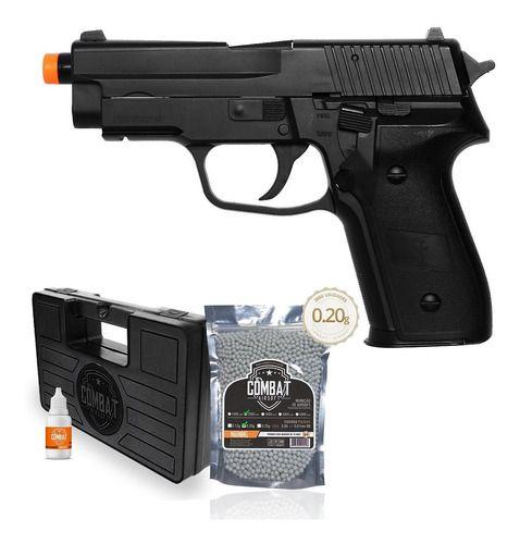 Pistola Airsoft Saigo 226 Spring Polímero + 2000 Bbs + Case