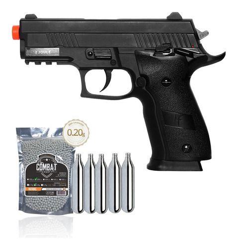 Pistola Airsoft Saigo 229 Slide Metal Blowback + BBs + CO2