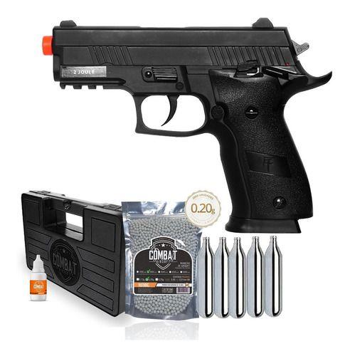 Pistola Airsoft Saigo 229 Slide Metal Blowback + BBs + CO2 + Case