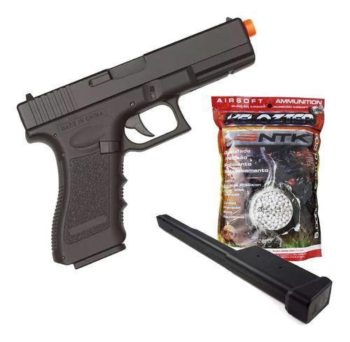 Pistola Airsoft Elétrica AEP Glock CM030 Cyma + Mag Estendido + 5000 BBss