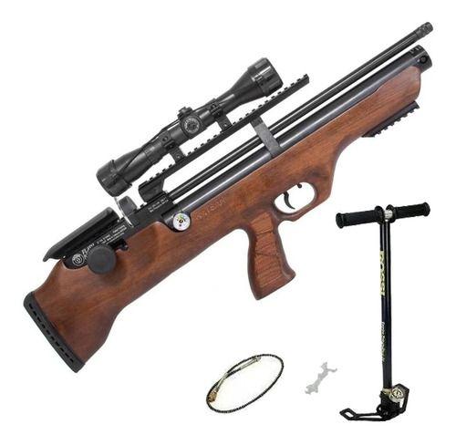 Carabina De Pressão PCP Hatsan Flashpup Wood 12 Tiros 5,5 + Luneta 4x32 + Bomba