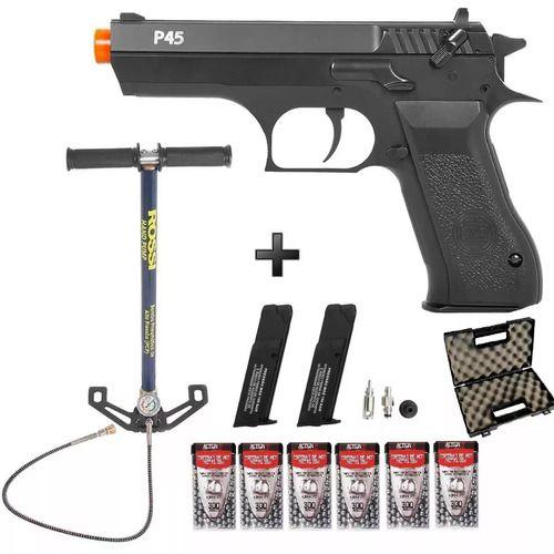 Pistola Pressão Pcp Kwc P45 4.5mm + Bomba + 6 Cx Esf. + Maleta
