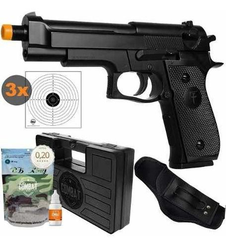 Pistola Airsoft Spring Skyway Saigo 92 Beretta M92 + Kit