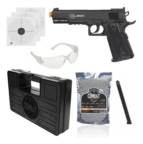 Kit Airsoft Pistola Co2 Cybergun Colt 1911 Slide Fixo 6mm + Maleta + BBs