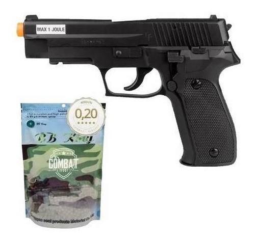 Airsoft Green Gás Pistola P226 6mm Saigo + 4000 Bbs 0,20g