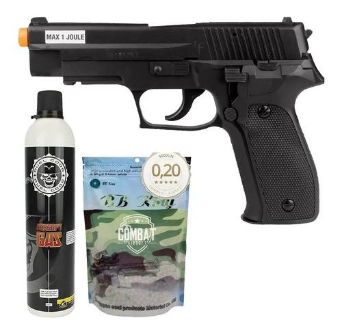 Airsoft Green Gás Pistola P226 6mm Saigo + Recarga + 4000 Bbs