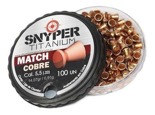Chumbinho Snyper Titanium Match Cobre 5,5mm 100un