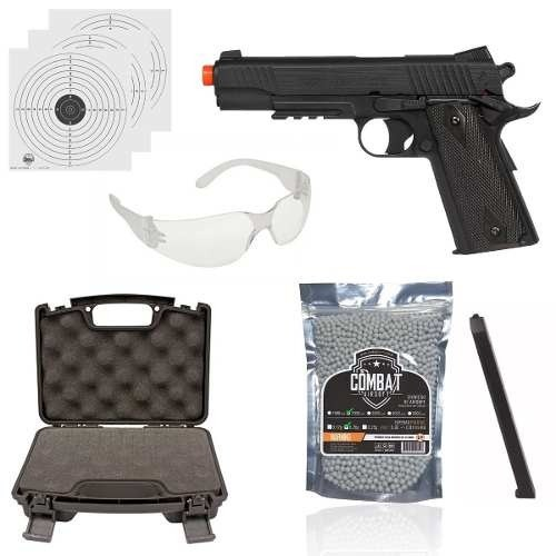 Kit Pistola Airsoft Co2 Cybergun Colt1911 Rail Nbb Blackened