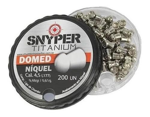 Chumbinho Snyper Titanium Domed Niquel 4,5mm 200un
