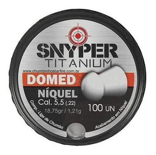 Chumbinho Snyper Titanium Domed Niquelado 6,0mm Alta Performance