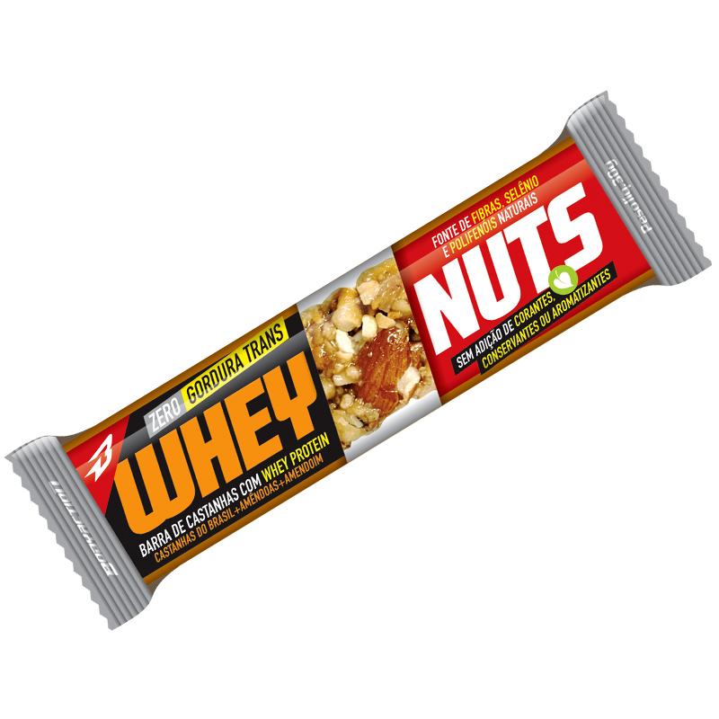 Barra de Castanhas Whey Nuts - Cx com 12 barras 30g - BodyAction