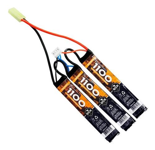 Bateria Airsoft Lipo Qgk 20c 3 Packs 1100mah 11.1v