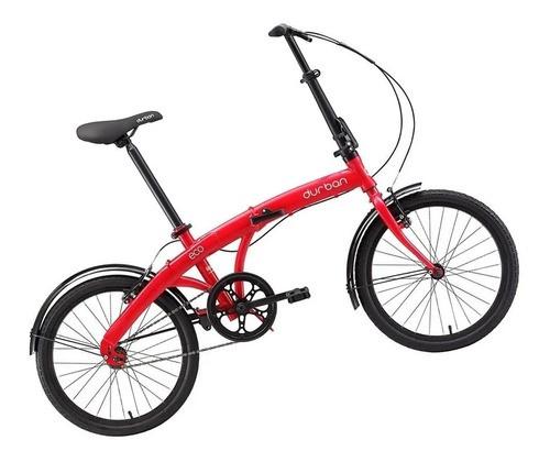 """Bicicleta Dobrável Aro 20"""" Durban Eco Vermelha com Quadro em Aço e 1 Marcha"""