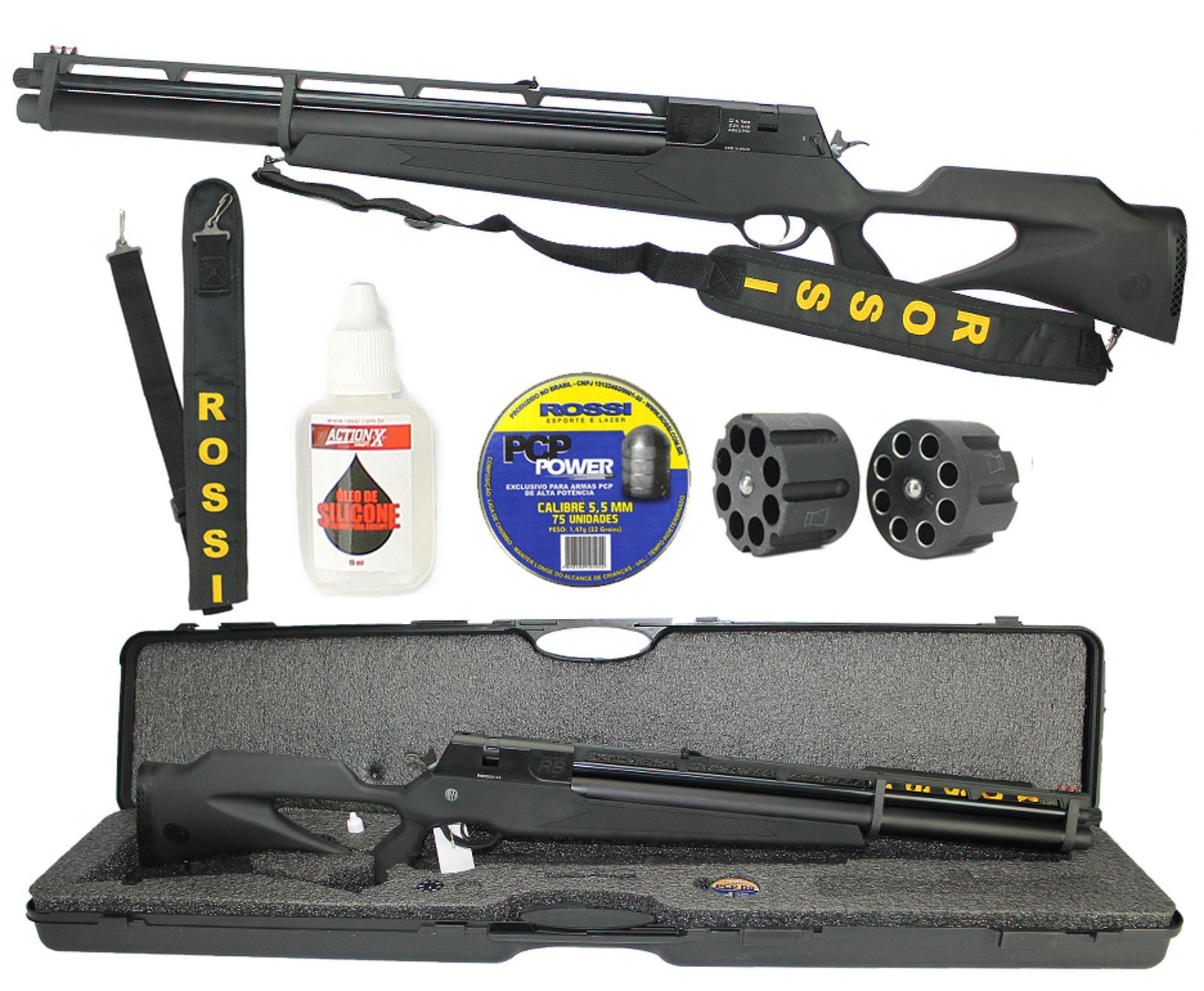 Carabina Pressão Pcp Rossi R8 Black 5,5mm Ação Dupla