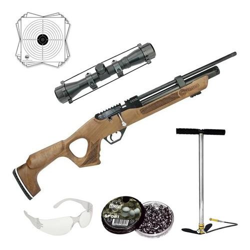 Carabina De Pressão Hatsan Pcp Flash Wood 5,5mm + Luneta + Bomba