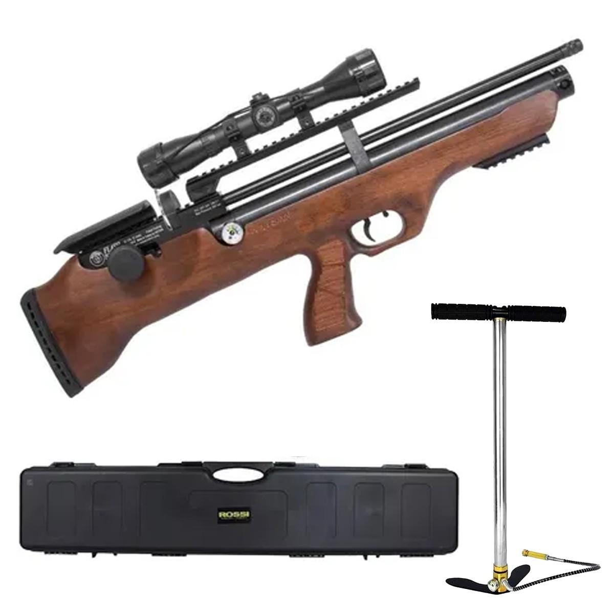 Carabina De Pressão PCP Hatsan Flashpup Wood 12 Tiros 5,5 + Luneta 4x32 + Bomba + Case
