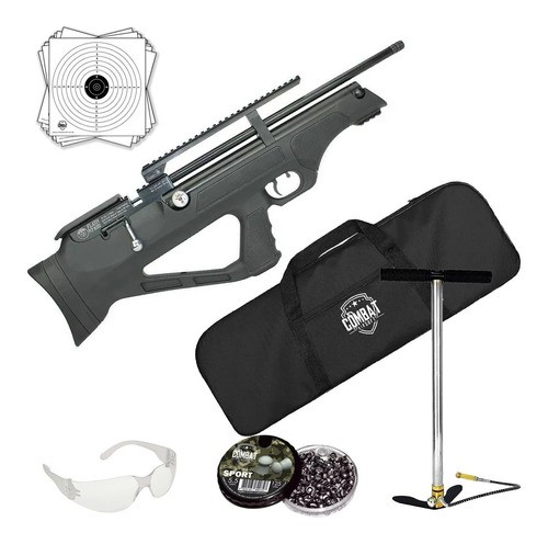 Carabina Pressão Hatsan Pcp Flashpup Synt 5,5mm 12 tiros + Capa + Bomba Pneumática