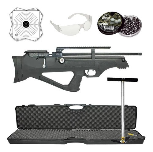 Carabina Pressão Hatsan Pcp Flashpup Synt 5,5mm 12 tiros + Case + Bomba Pneumática