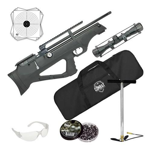 Carabina Pressão Hatsan Pcp Flashpup Synt 5,5mm + Capa + Luneta 4x32+ Bomba Pneumática