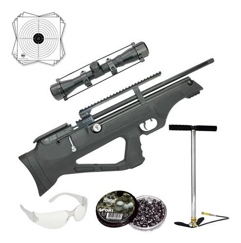 Carabina Pressão Hatsan Pcp Flashpup Synt 5,5mm + Luneta 4x32 + Bomba Pneumática