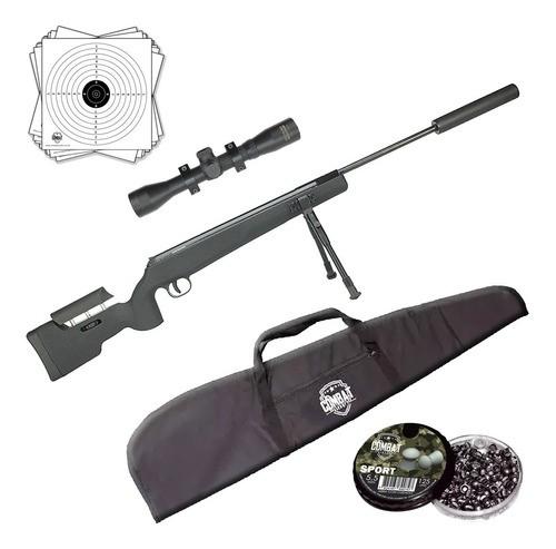 Carabina Pressão Qgk Eagle Black Sniper 5.5 Gr 70kg + Kit
