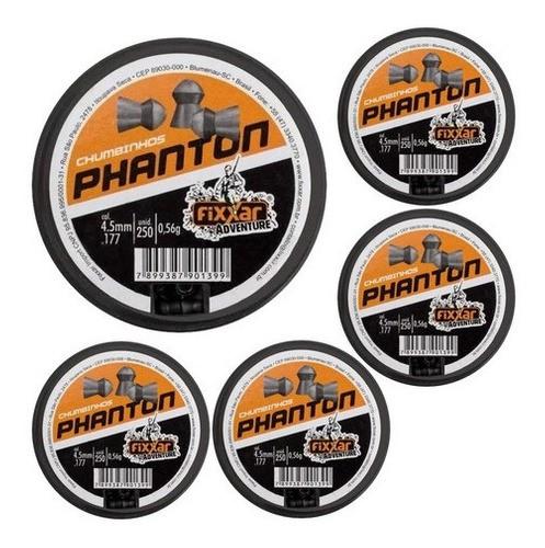 5 Latas Munição Chumbinho Carabina Fixxar Phanton 4.5mm 250u