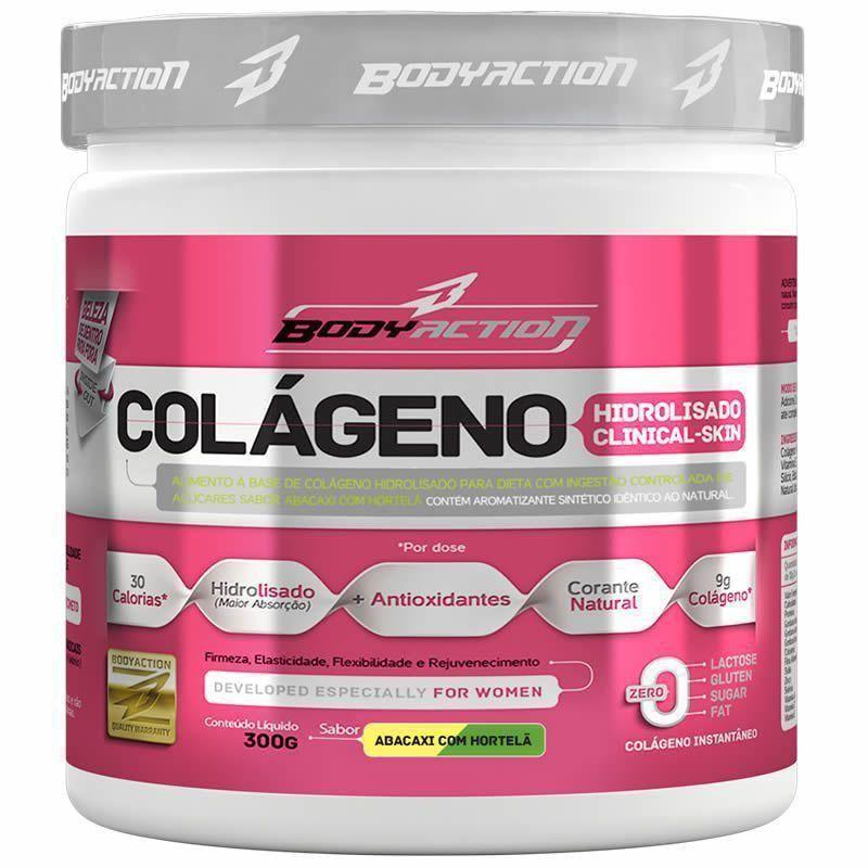 Colágeno Hidrolisado Clinical Skin - 300g Sabor Abacaxi com Hortelã - BodyAction