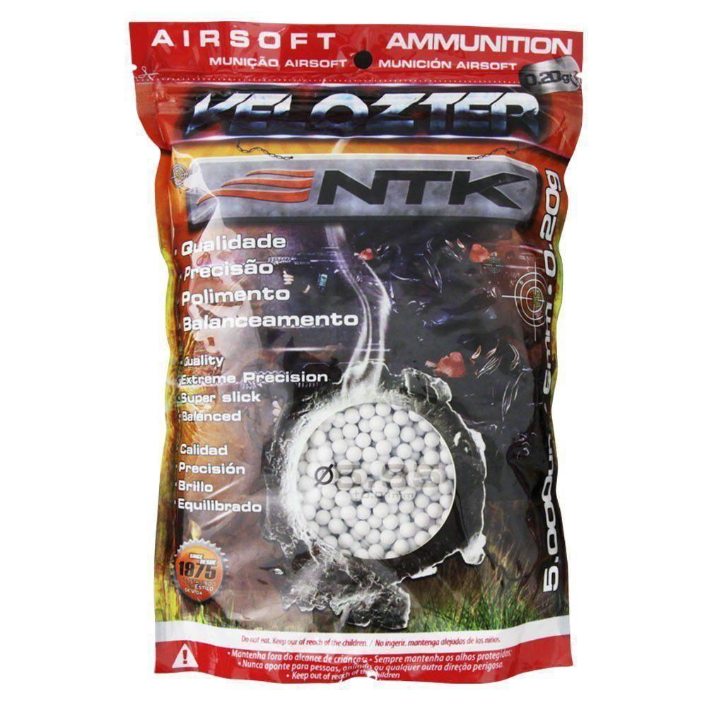 Munição Airsoft Esferas BBs 6mm 0,20g Velozter NTK - Pacote 5000un